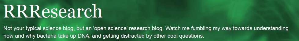 Bannière du blog de Rosie Redfield sur lequel la chercheuse publie ses protocoles et résultats d'expériences sur les bactéries GFAJ-1. © Capture d'écran, http://rrresearch.fieldofscience.com