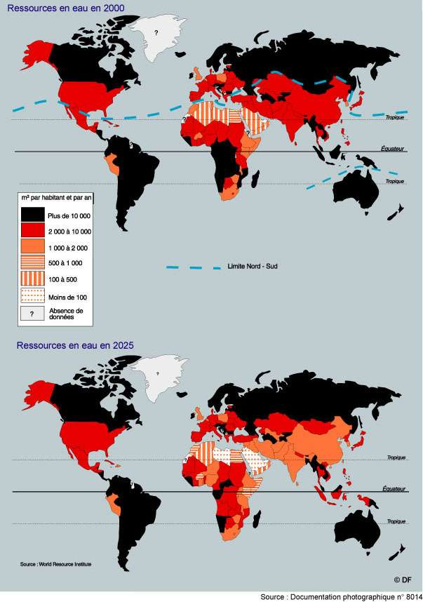 Utilisation de l'eau dans le monde en 2000 et en 2025. © Documentation Photographique, DR
