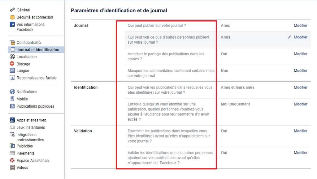Les paramètres d'identification et de journal permettent de définir qui a accès à votre journal et aux publications dans lesquelles vous êtes identifié. © Facebook
