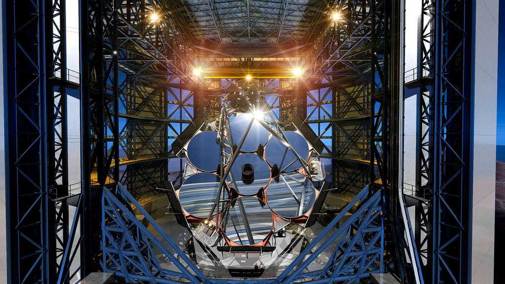 Le télescope géant Magellan, en cours de construction sur le site de l'Observatoire de Las Campanas, au Chili. © GMTO Corporation, M3 Engineering