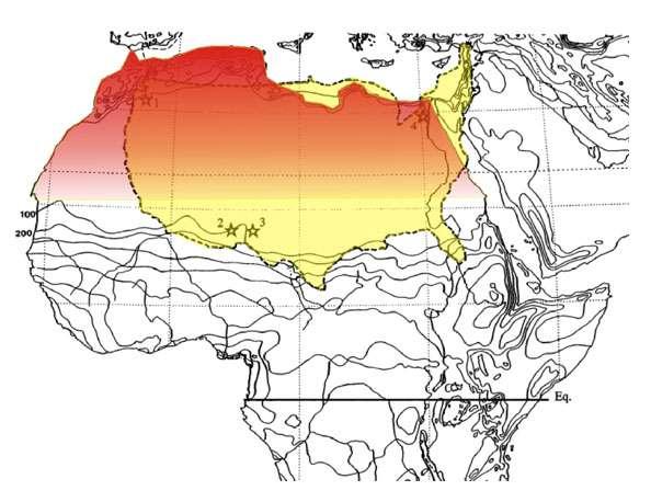 Comparaison entre l'étendue supposée de l'écosystème du Continental intercalaire (en rouge) et de la superficie actuelle des États-Unis (en jaune). © Modifié d'après Russell et Paesler (2003)