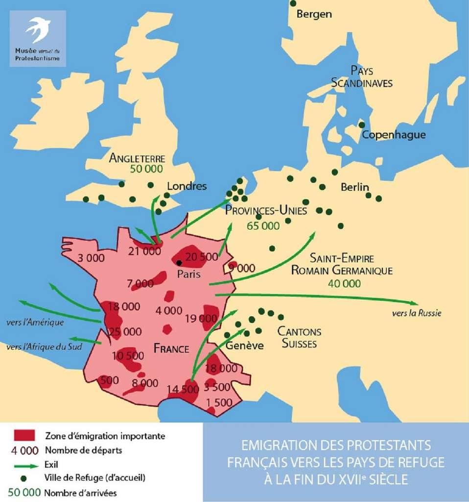 Carte du « grand refuge » à la fin du XVIIe siècle. © Musée Virtuel du Protestantisme