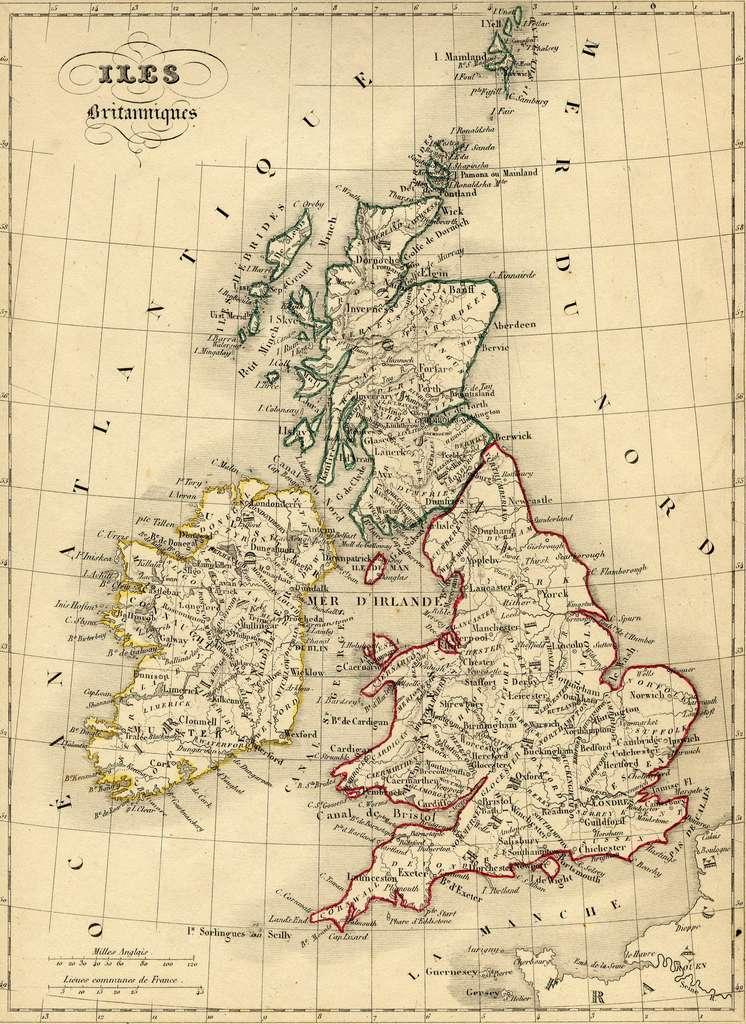 """Carte des Iles Britanniques en 1843, par le géographe Alexandre Vuillemin, dans son """"Atlas universel de géographie ancienne et moderne..."""". © Wikimedia Commons, domaine public."""