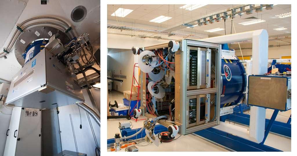 Le cryostat bleu (à droite) à l'intérieur duquel sont logés les récepteurs. Le caisson gris, juste en dessous (à gauche), contient la première phase de mélangeur (changement de fréquence vers des fréquences plus basses) et d'amplification. Il est ici installé à l'intérieur d'une des antennes de l'observatoire Alma. © Rémy Decourt