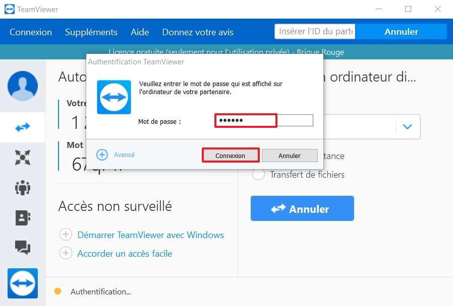 Rentrez le mot de passe et cliquez sur « Connexion ». © TeamViewer GmbH