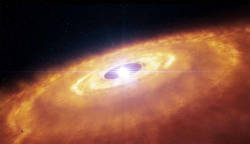 La très jeune étoile AU Microscopii, située à 32 années-lumière, est entourée d'un disque de poussière qui pourrait nous en apprendre davantage sur la formation des planètes. © Eso