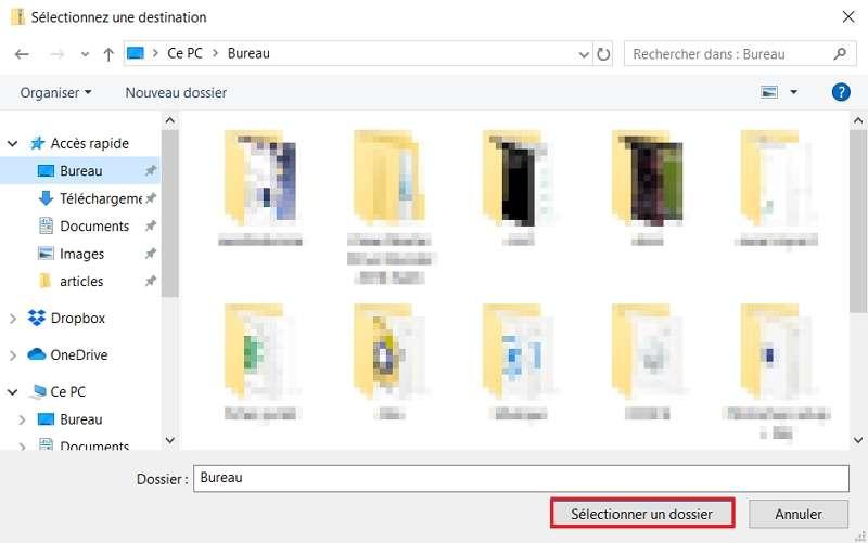 Choisissez la destination du fichier ZIP décompressé. © Microsoft