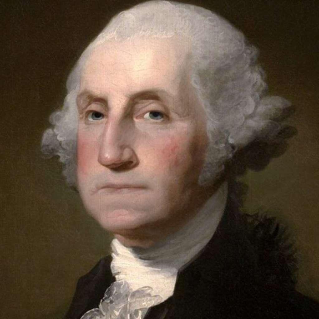 On devine à la position de la mâchoire inférieure que le dentier de George Washington n'était pas des plus confortables. © Wikimedia Commons