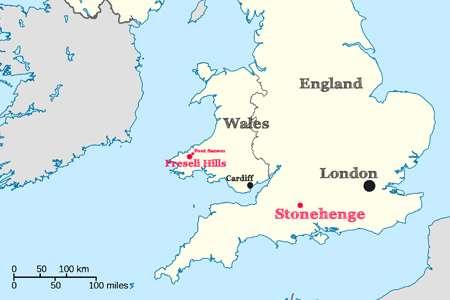 Carte du Royaume-Uni montrant la distance qui sépare Stonehenge de Preseli Hills et de Pont Season (petit point au nord-est de Preseli Hills). © Heritage key