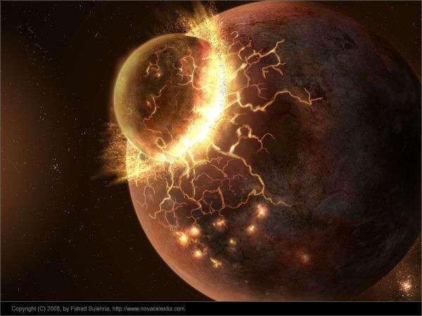 Une vue d'artiste de la collision entre la protoTerre (à droite) et Théia (à gauche). Le choc aurait conduit à la fusion des deux noyaux, tandis que les manteaux des deux corps, arrachés, auraient formé un disque de débris qui aurait fini par s'agglomérer, formant la Lune. © Fahad Sulehria