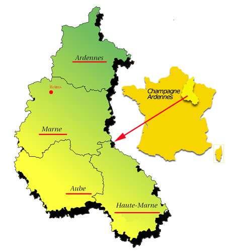 Situation de la Région Champagne-Ardennes sur la carte de France