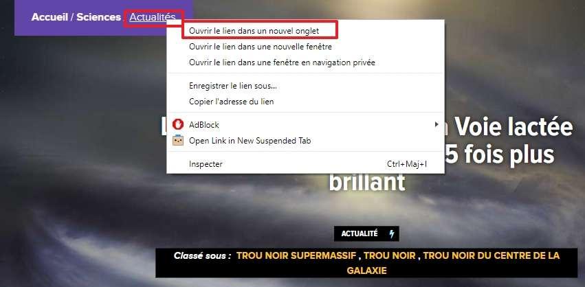 Faites un clic droit sur un lien contenu sur une page et choisissez « Ouvrir le lien dans un nouvel onglet ». © Google Inc.