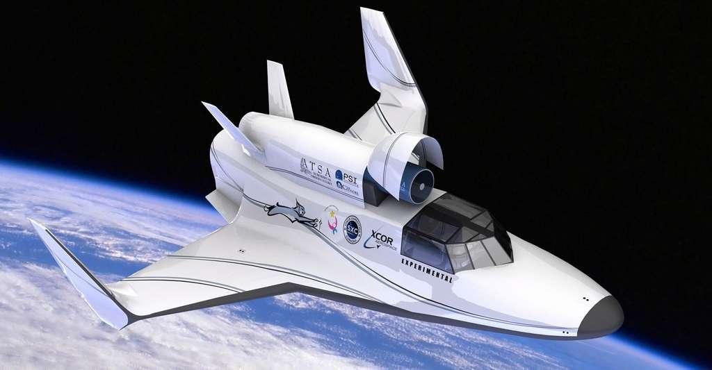 Vision d'artiste du Lynx d'XCOR Aerospace équipé d'un télescope. Pour le tourisme spatial, il pourrait effectuer quatre vols suborbitaux par jour. © XCOR