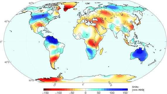 Les changements des masses d'eau sont moyennés sur la période 2010-mi-2011, soit durant toute la période de l'événement La Niña. L'unité est le millimètre d'eau. Les zones bleues indiquent les zones excédentaires en eau et les rouges, les zones déficitaires. L'Australie et le nord de l'Amérique du Sud ont subi d'intenses précipitations. © Boening et al., Geophysical research letters