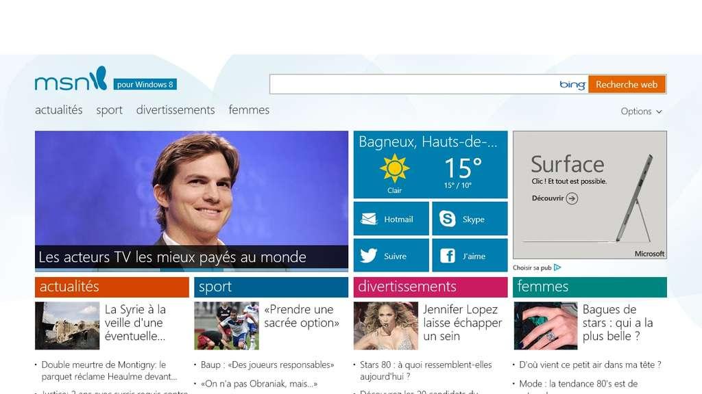 La version Modern UI d'Internet Explorer 10 dispose d'une interface dépouillée, plus pratique pour un usage tactile. Ce qui s'avère concluant si le site visité, comme ici le nouveau portail MSN.com, a lui aussi été optimisé pour le tactile. Dans le cas contraire, la souris reste fortement conseillée. © Eureka Presse