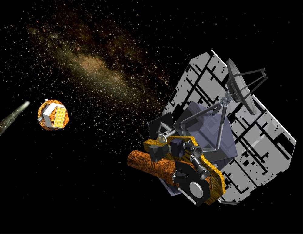 Représentation d'artiste montrant la sonde Deep Impact après largage de son impacteur en direction de la comète Tempel 1 en juillet 2005. Crédit Nasa