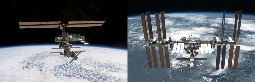Ce ne sera pas le premier séjour d'André Kuipers à bord de l'ISS. En 2002, le Néerlandais avait effectué un vol d'une semaine à bord de la Station (image de gauche) qui n'était pas encore achevée, comme c'est le cas aujourd'hui (image de droite). © Nasa