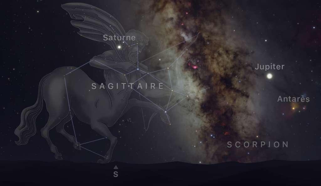 Cet été, Saturne brille sur l'épaule du Sagittaire aussi nommé l'Archer. Jupiter n'est pas loin, sur l'autre rive de la Voie lactée. Capture d'écran de l'app Sky Guide. © Sky Guide