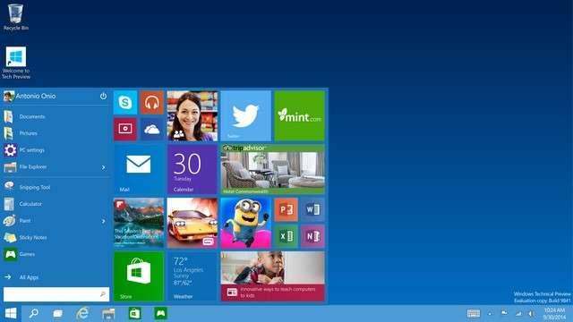 L'une des principales nouveautés ergonomiques de Windows 10 est le retour du menu Démarrer qui avait disparu sous Windows 8. Il combine les fonctions du menu Démarrer de Windows 7 avec le système de tuiles dynamiques introduit par son successeur. © Microsoft