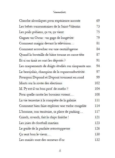 Extrait du sommaire. Une cinquantaine de chroniques de sciences improbables sont compilées en un ouvrage. © Dunod