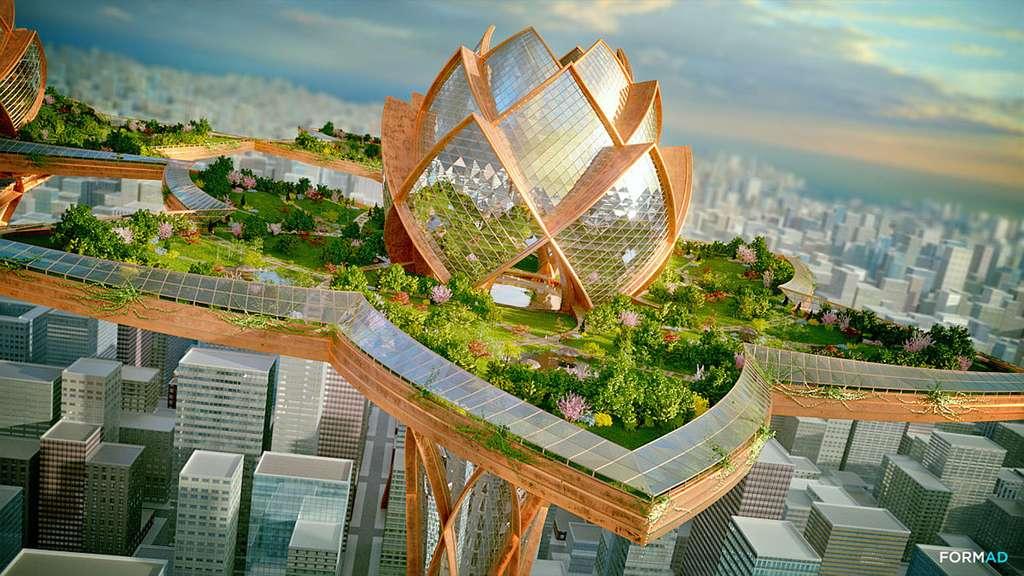 Le concept de la City in the Sky — comprenez la ville dans le ciel — a été imaginé par l'architecte bulgare Tsvetan Toshkov comme une oasis de calme et de tranquillité au-dessus de la ville stressante et polluée de New York. Le concept s'inspire de la fleur de lotus dont la pureté peut émerger, même d'eaux troublées. © Tsvetan Toshkov, City in the Sky, Formad