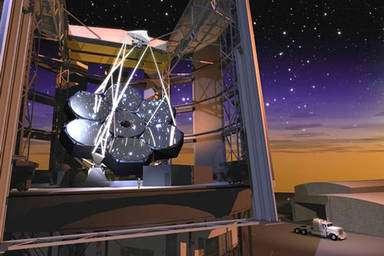 Figure 7. Représentation du projet GMT (Giant Magellan Telescope) de 21 mètres de diamètre. Sept miroirs de 8 mètres de diamètre sont montés sur une même structure. © GMT