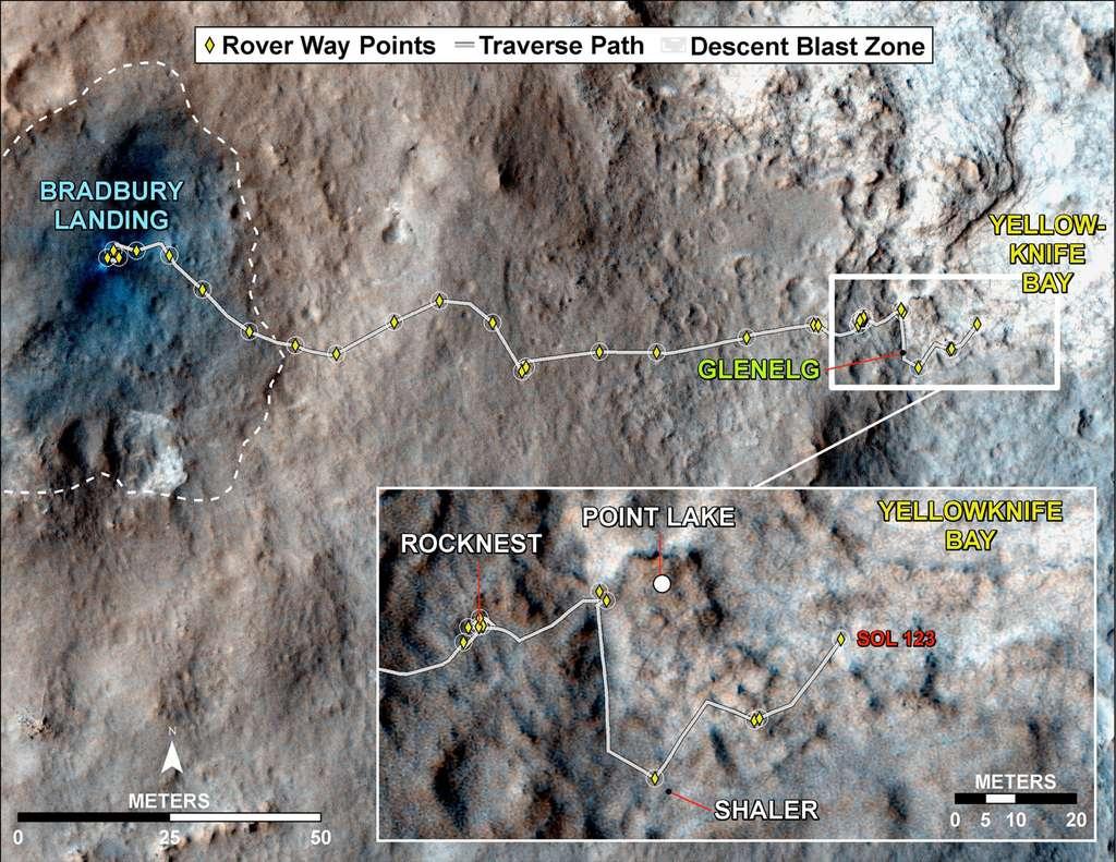 Le parcours du rover Curiosity depuis son atterrissage dans le cratère Gale (Bradbury Landing), le 6 août 2012. Curiosity se trouve actuellement dans la zone de Yellowknife Bay. © Nasa, JPL, University of Arizona