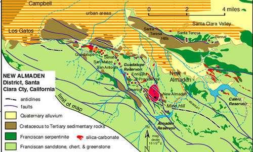 Carte géologique simplifiée de New Almaden (États-Unis). © DR