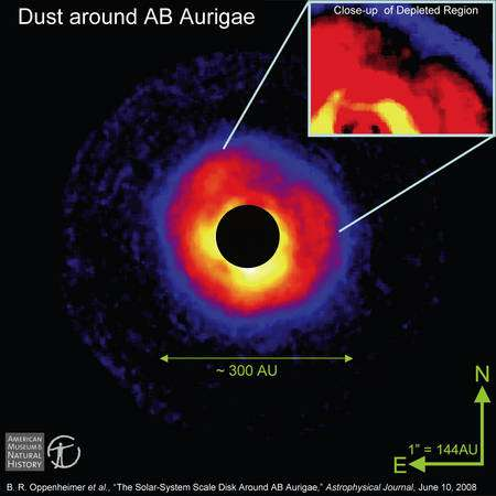 Figure 2. Une zone noire en forme de fer à cheval avec un point rouge apparaît sur un zoom de l'image prise avec un coronographe. Il s'agirait d'une zone appauvrie en poussières, gaz et débris dans le disque entourant AB Aurigae et mise en évidence par la technique de coronographie. L'explication le plus probable est que le point rouge est une exoplanète ou une naine brune en cours de formation. Crédit : The Lyot Project