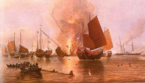 Un navire chinois est détruit par le Nemesis - Source : British Parliamentary Papers, 1840, XXXVI (223), p. 374