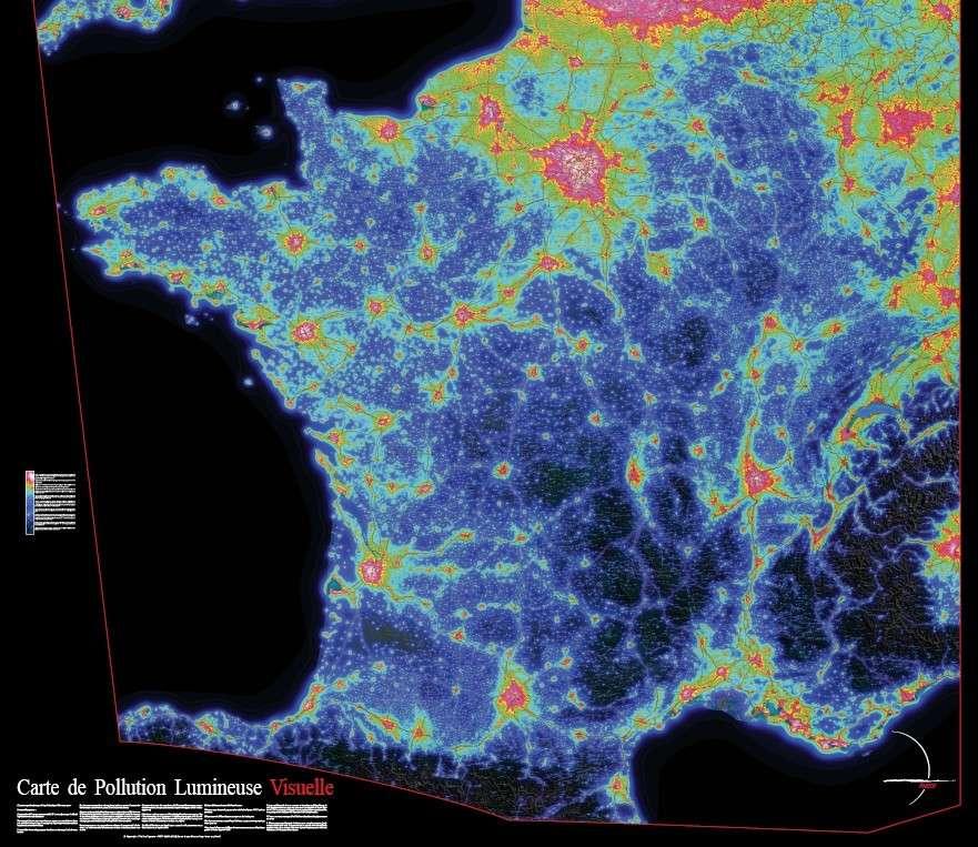 Carte de la pollution lumineuse permettant de visualiser l'importance de l'éclairage public en France. © F. Tapissier/Avex
