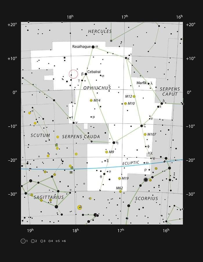 Sur cette carte figure la constellation d'Ophiuchus (le Serpentaire), de part et d'autre de l'équateur céleste. La localisation de l'étoile de Barnard y figure, ainsi que la plupart des étoiles visibles à l'œil nu par temps clair et par nuit sombre. © ESO, IAU and Sky & Telescope