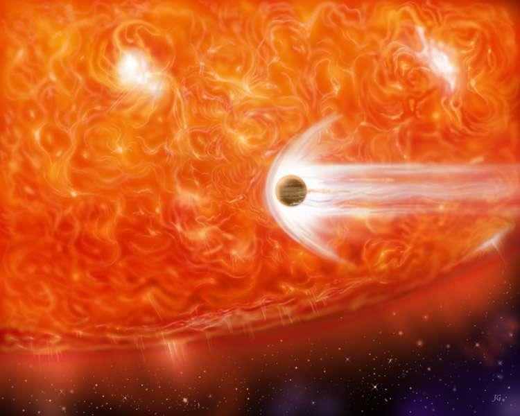 Une vue d'artiste de la planète qui a peut-être été avalée par la géante rouge BD+48 740. Combien ont déjà subi ce sort dans la Voie lactée ? © Nasa