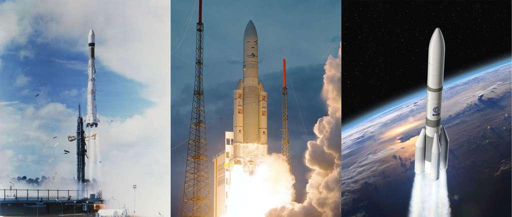 D'Ariane 1 à Ariane 5, ces familles de lanceurs ont assuré à l'Europe trois décennies d'accès indépendant à l'espace. En 2020, Ariane 6 prendra progressivement le relais d'Ariane 5 avec les mêmes objectifs d'indépendance et la ferme attention d'un accès à l'espace moins cher. © Esa, Cnes / Arianespace, Service optique CSG, D. Ducros (Ariane 6)