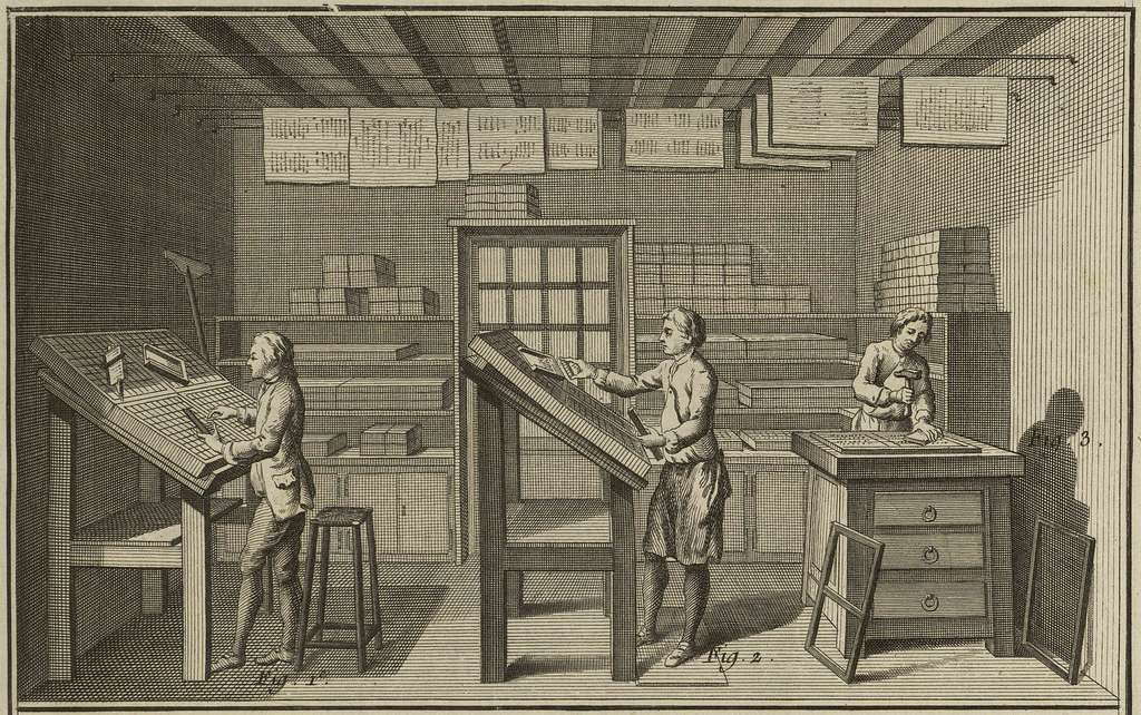 Détail d'une planche consacrée à l'imprimerie dans l'Encyclopédie ; article Imprimerie, l'opération de la casse. Site «Encyclopédie de Diderot». © 2018 Encyclopédie de Diderot.
