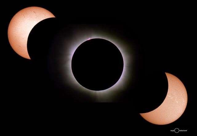 Les différentes étapes de l'éclipse de Soleil photographiées sur l'atoll Woleai par l'équipe de l'Exploratorium de San Francisco. © Nasa