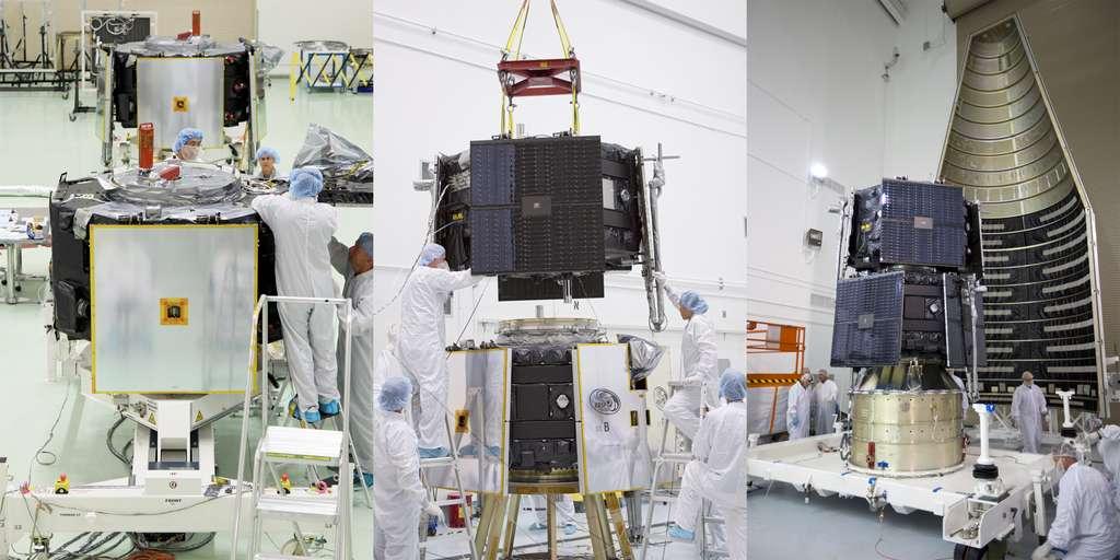 Les deux satellites identiques de la mission RBSP. Sur l'image de droite, ils sont en cours d'intégration dans la coiffe du lanceur. © Nasa