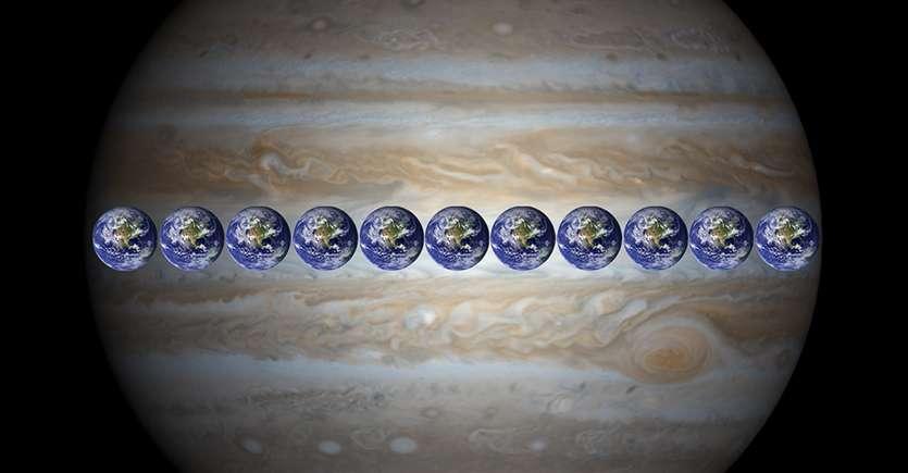La Terre pourrait être alignée 11 fois sur le diamètre de Jupiter. © Nasa