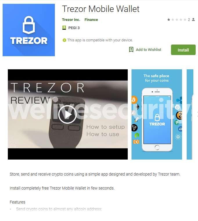 La fausse application Trezor est aussi sur Android. © Play Store
