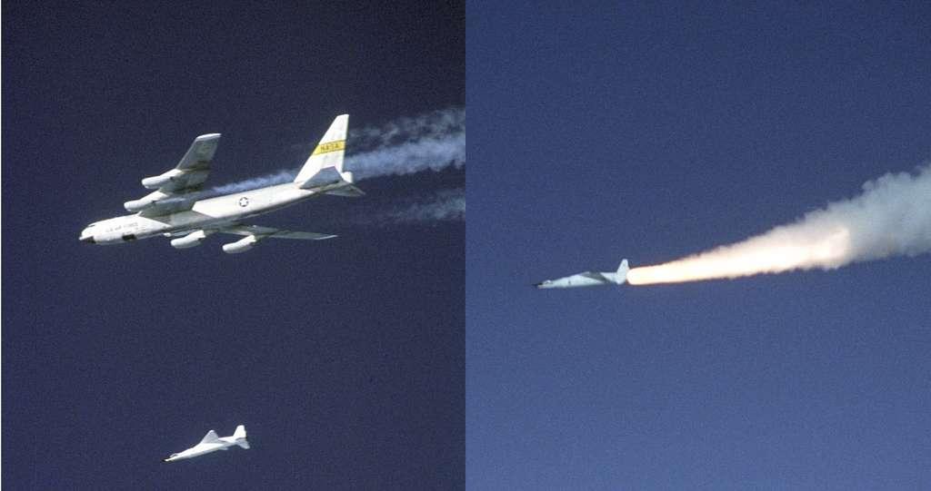 Comme le X-43, un autre démonstrateur hypersonique de la Nasa, le X-51 Waverider est largué de son avion porteur avant de mettre en route son système de propulsion. © Carla Thomas