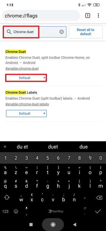 Cliquez sur le bouton « Default » de la fonction « Chrome Duet ». © Google