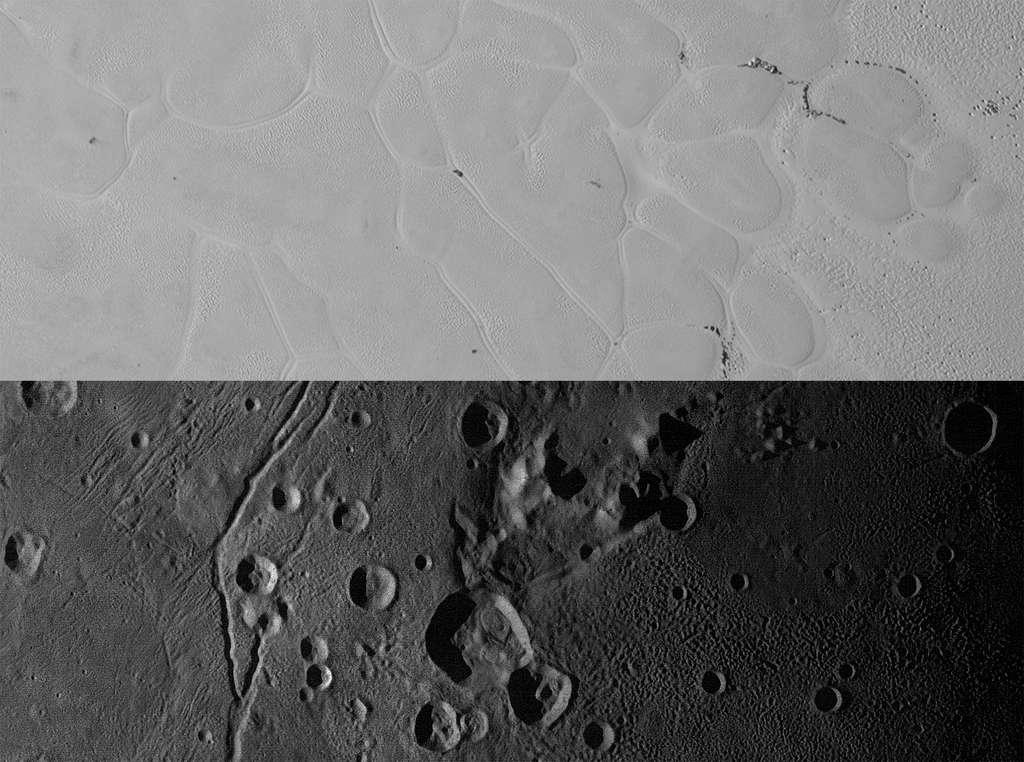 En haut : détail de la plaine Spoutnik sur Pluton où l'on distingue les cellules de glace d'azote et des blocs de glace d'eau dérivant le long de leurs bordures. En bas : la région de la plaine Vulcain sur Charon, riche en glace d'eau. © Nasa, JHUAPL, SwRI