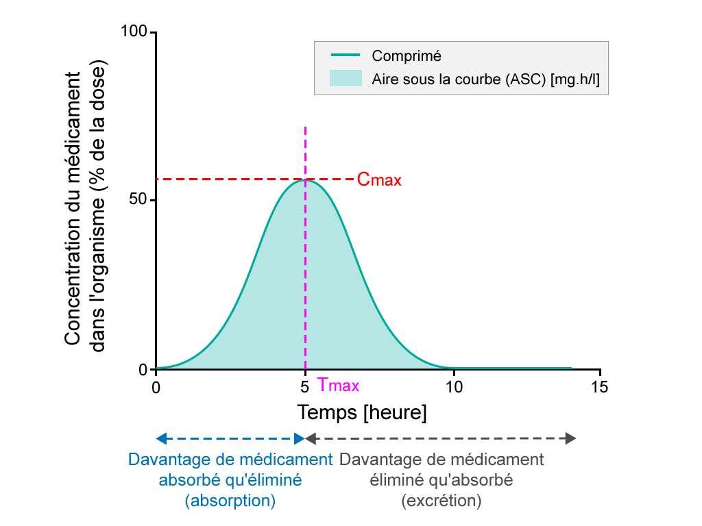 La courbe de concentration plasmique mesure la biodisponibilité orale du médicament. © EUPATI