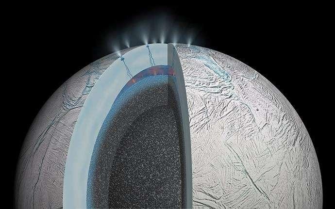 Sur cette vue en coupe, on découvre une vision d'artiste de l'activité hydrothermale qui pourrait se jouer dans le fond marin d'Encelade, la lune de Saturne. © JPL-Caltech, Nasa