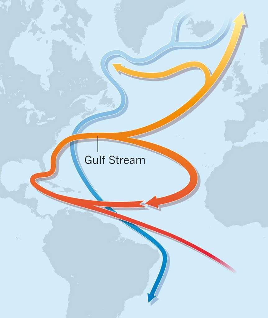 Le Gulf Stream remonte du golfe du Mexique pour apporter des courants chauds à l'Europe. © Jochem Marotzke, Nature, 2012