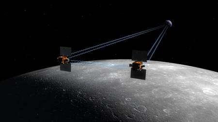 Les deux sondes de la mission GRAIL en orbite autour de la Lune. Cliquez pour agrandir. Crédit : Nasa