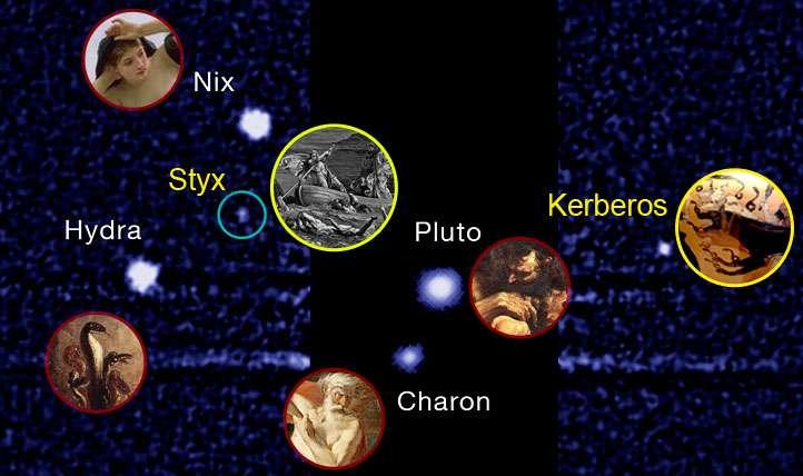 Les cinq lunes de Pluton connues en 2013 tirent leurs noms de la mythologie grecque. Ainsi, Hydra est le nom anglais de l'Hydre, le monstre dont les têtes repoussaient lorsqu'Hercule les tranchait, et Nyx, déesse grecque de la nuit, n'est autre que la mère de Charon. © Institut Seti