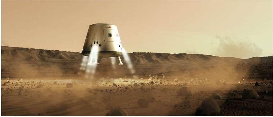Atterrissage d'un module sur mars en février 2023. Selon l'agenda de Mars One, six de ces engins, automatiques, tous lancés en 2022, se poseraient les uns à côté des autres. Deux seraient des lieux de vie, deux serviraient de stockage pour l'approvisionnement en eau et nourriture et deux contiendraient des équipements pour les colons. © Mars One