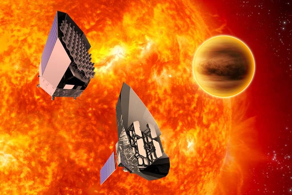 Deux concepts d'engins spatiaux ont été étudiés au cours de la phase d'évaluation de la mission Plato, qui devrait succéder à Kepler : le concept de Thales Alenia Space (à gauche) et le concept d'Astrium. © ESA