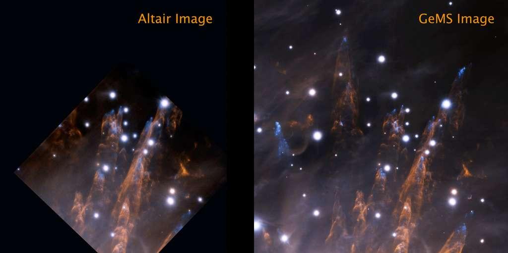 La célèbre nébuleuse d'Orion, vedette du ciel d'hiver dans l'hémisphère nord, comme les astronomes amateurs ne la voient jamais. Les deux photographies ont été saisies avec le même télescope Gémini sud mais avec deux systèmes d'optiques adaptatives différents : à gauche, avec le dispositif Altair en 2007 et à droite avec le nouveau GEMS. © Gemini Observatory, AURA